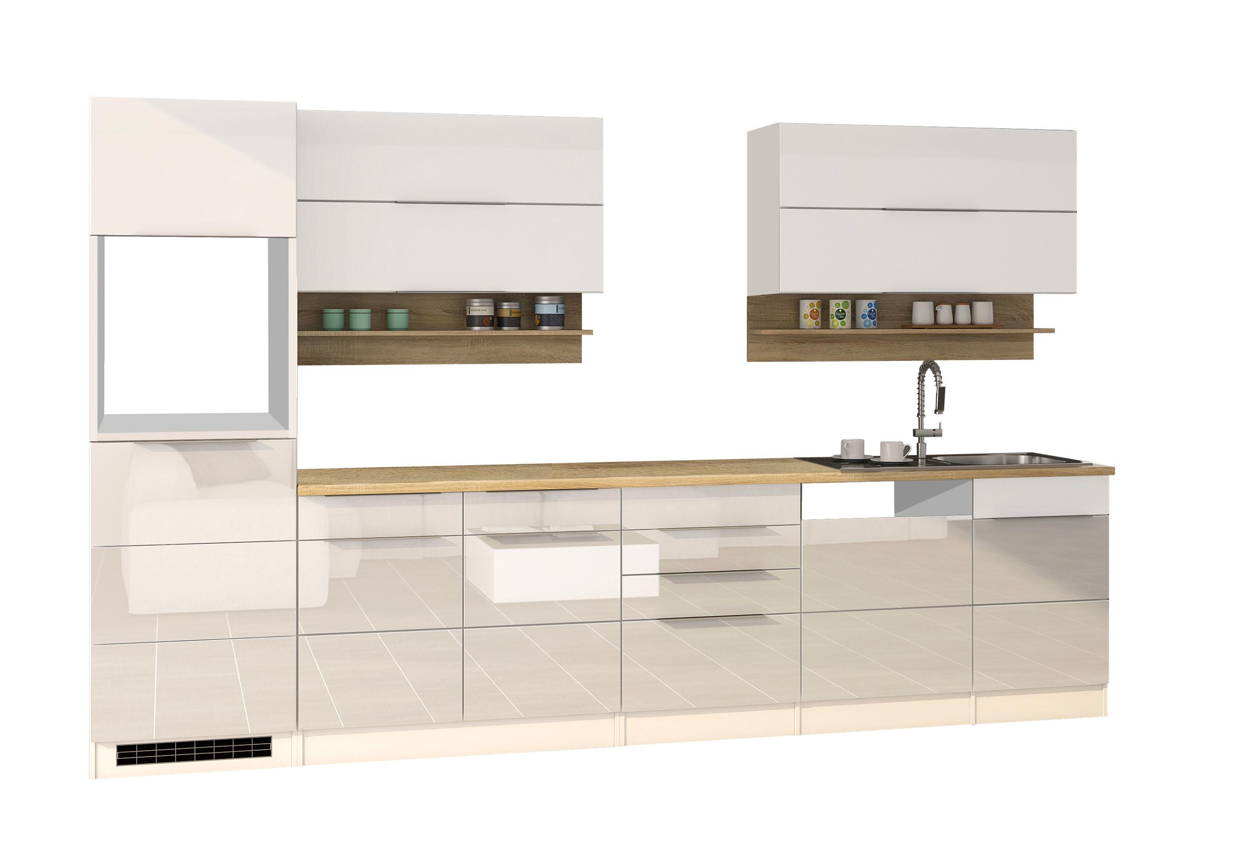 Küchenzeile HAMBURG - Küchen-Leerblock - Breite 330 cm - Hochglanz ...