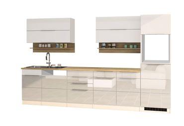 Küchenzeile HAMBURG - Küchen-Leerblock - Breite 330 cm - Hochglanz Weiß / Weiß