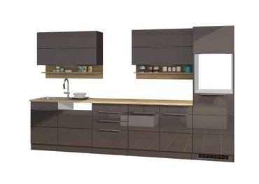 Küchenzeile HAMBURG - Küchen-Leerblock - Breite 330 cm - Hochglanz Grau / Graphit