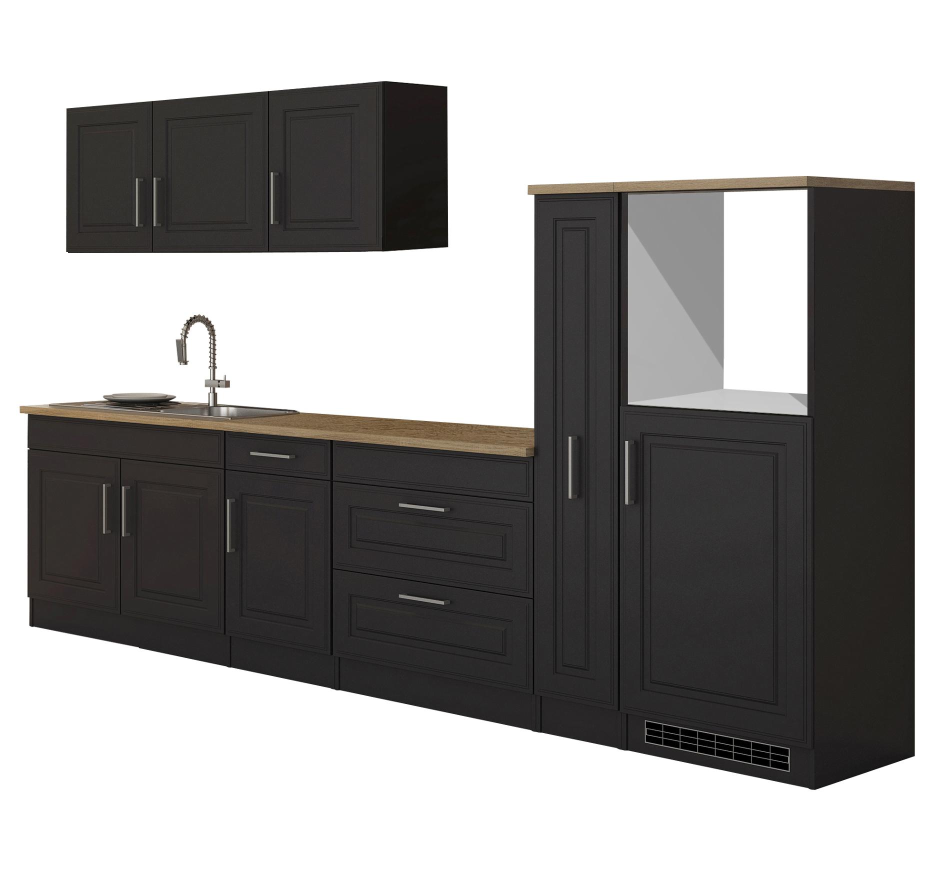 Details zu Küchenzeile Landhaus Einbauküche ohne Elektrogeräte Küche ohne  Geräte 320cm grau