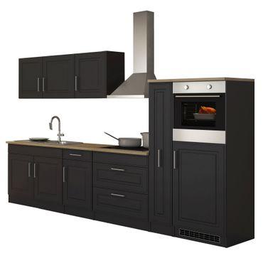 Küchenzeile KÖLN - Küche mit E-Geräten - Breite 320 cm - Grau / Graphit