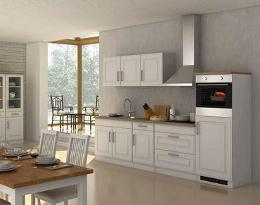 Küchenzeile KÖLN - Küche mit E-Geräten - Breite 290 cm - Weiß