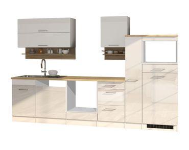 Küchenzeile MÜNCHEN - Vario 1 - Küchen-Leerblock - Breite 310 cm - Hochglanz Weiß