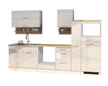 Küchenzeile MÜNCHEN - Vario 1 - Küchen-Leerblock - Breite 300 cm - Hochglanz Weiß