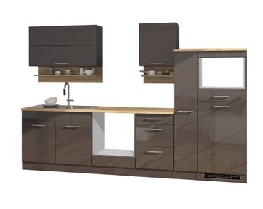 Küchenzeile MÜNCHEN - Vario 1 - Küchen-Leerblock - Breite 300 cm - Hochglanz Grau / Graphit