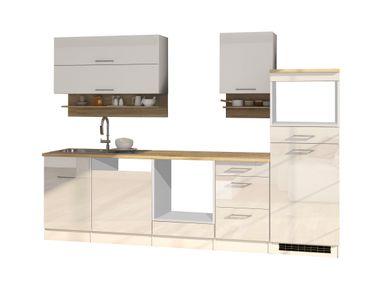 Küchenzeile MÜNCHEN - Vario 1 - Küchen-Leerblock - Breite 280 cm - Hochglanz Weiß