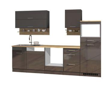 Küchenzeile MÜNCHEN - Vario 1 - Küchen-Leerblock - Breite 280 cm - Hochglanz Grau / Graphit