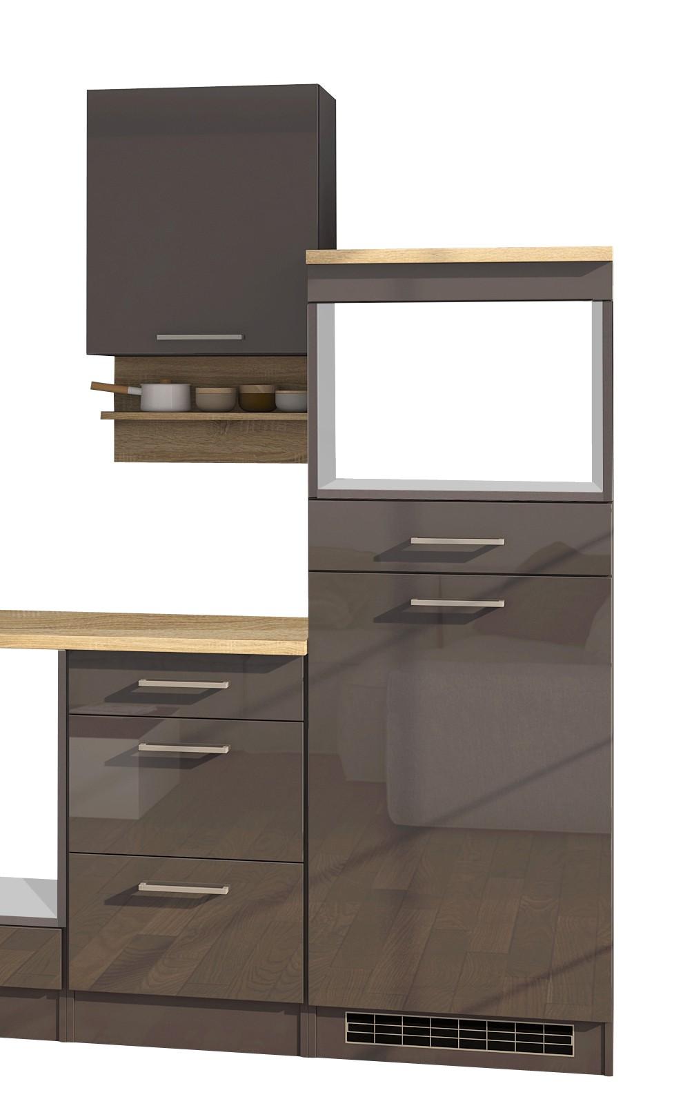 einbauk che ohne elektroger te k chenblock ohne ger te k chenzeile 270 cm grau ebay. Black Bedroom Furniture Sets. Home Design Ideas
