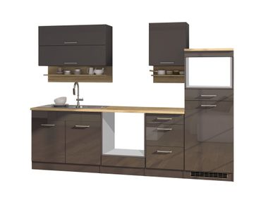 Küchenzeile MÜNCHEN - Vario 1 - Küchen-Leerblock - Breite 270 cm - Hochglanz Grau / Graphit
