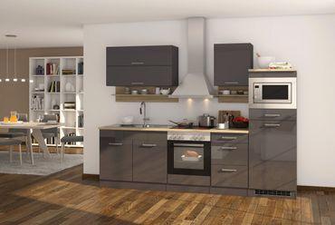 Küchenzeile MÜNCHEN - Vario 1 - Küche mit E-Geräten - Breite 270 cm - Hochglanz Grau / Graphit