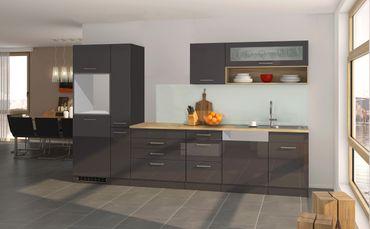 Küchenzeile MÜNCHEN - Vario 2 - Küchen-Leerblock - Breite 330 cm - Hochglanz Grau / Graphit