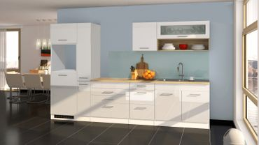 Küchenzeile MÜNCHEN - Vario 2 - Küchen-Leerblock - Breite 320 cm - Hochglanz Weiß