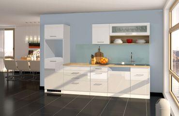 Küchenzeile MÜNCHEN - Vario 2 - Küchen-Leerblock - Breite 300 cm - Hochglanz Weiß