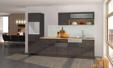 Küchenzeile MÜNCHEN - Vario 2 - Küchen-Leerblock - Breite 300 cm - Hochglanz Grau / Graphit