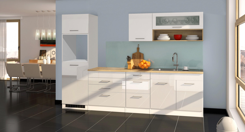 k chenblock ohne ger te einbauk che ohne elektroger te 290 cm hochglanz weiss ebay. Black Bedroom Furniture Sets. Home Design Ideas