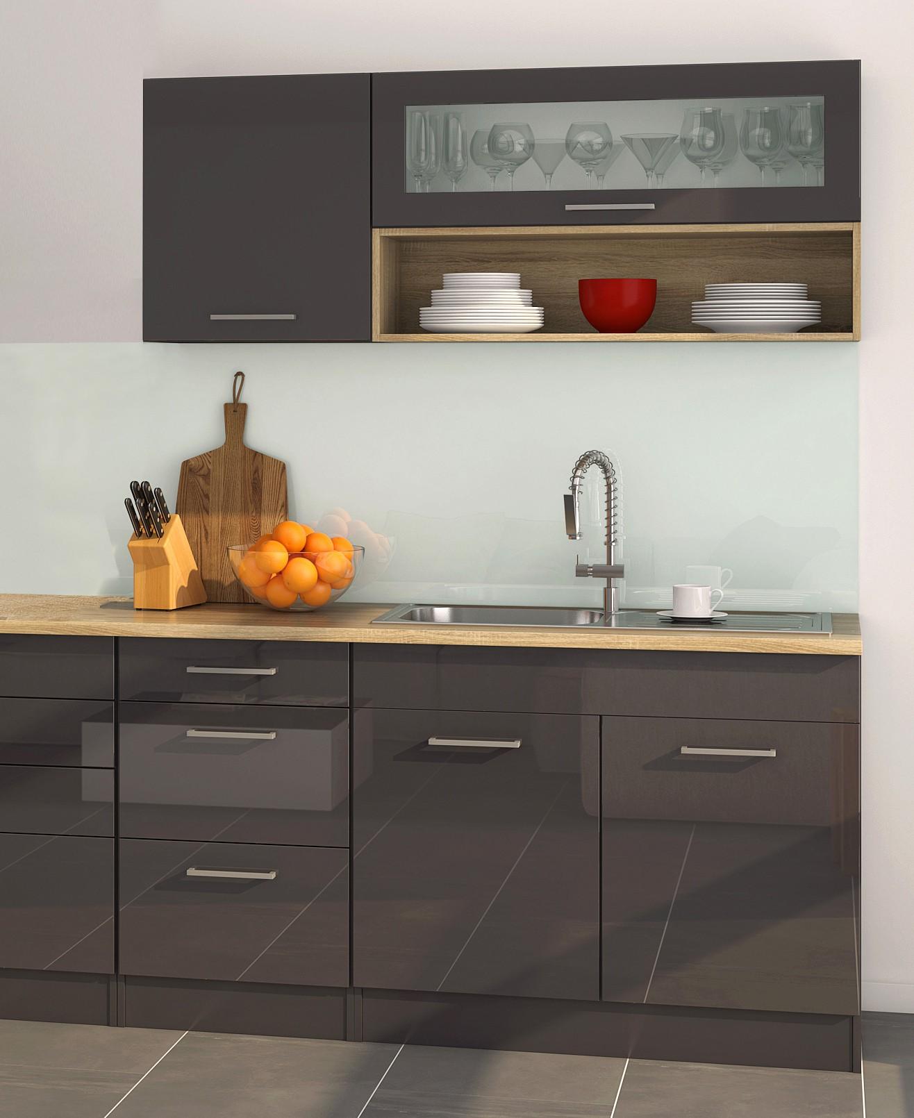 k chenzeile m nchen vario 2 k chen leerblock breite 290 cm hochglanz grau graphit. Black Bedroom Furniture Sets. Home Design Ideas