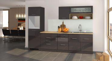 Küchenzeile MÜNCHEN - Vario 2 - Küchen-Leerblock - Breite 290 cm - Hochglanz Grau / Graphit