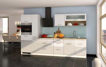 Küchenzeile MÜNCHEN - Vario 2 - Küche mit E-Geräten - Breite 320 cm - Hochglanz Weiß