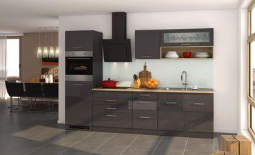 Küchenzeile MÜNCHEN - Vario 2 - Küche mit E-Geräten - Breite 290 cm - Hochglanz Grau / Graphit
