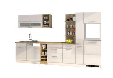 Küchenzeile MÜNCHEN - Vario 3 - Küchen-Leerblock - Breite 340 cm - Hochglanz Weiß