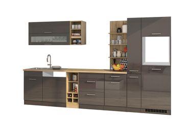 Küchenzeile MÜNCHEN - Vario 3 - Küchen-Leerblock - Breite 340 cm - Hochglanz Grau / Graphit
