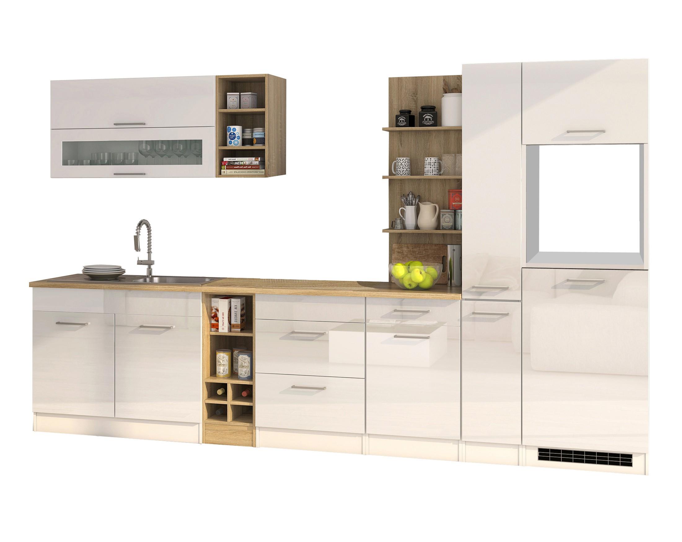 Einbauküche Ohne Elektrogeräte Küchenzeile Ohne Geräte 330 Cm Hochglanz  Weiss