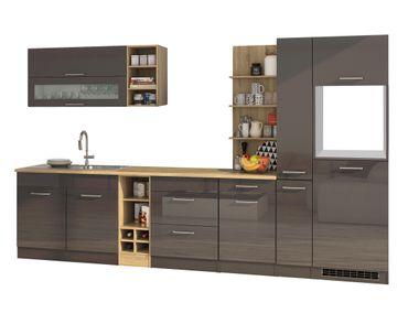 Küchenzeile MÜNCHEN - Vario 3 - Küchen-Leerblock - Breite 330 cm - Hochglanz Grau / Graphit