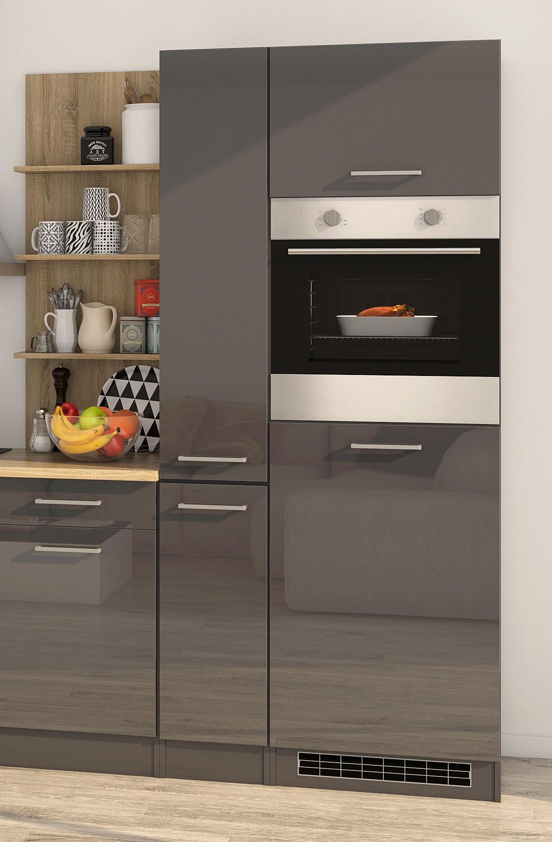 k chenzeile m nchen vario 3 k che mit e ger ten breite 340 cm hochglanz grau graphit. Black Bedroom Furniture Sets. Home Design Ideas