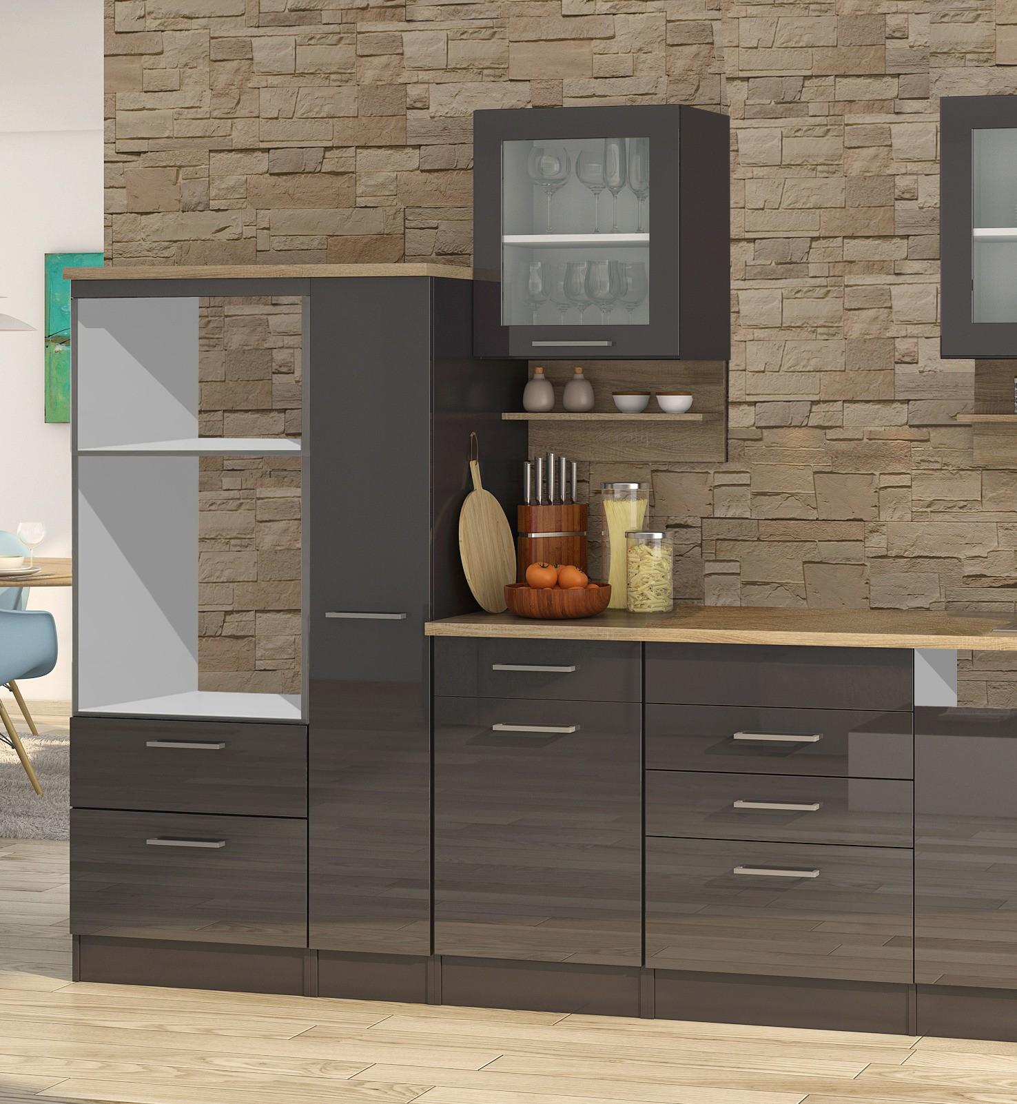 k chenzeile m nchen vario 4 k chen leerblock breite 370 cm hochglanz grau graphit. Black Bedroom Furniture Sets. Home Design Ideas