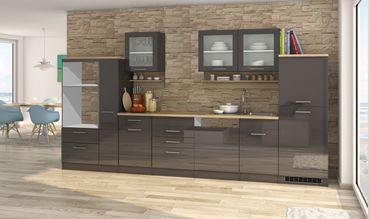 Küchenzeile MÜNCHEN - Vario 4 - Küchen-Leerblock - Breite 370 cm - Hochglanz Grau / Graphit
