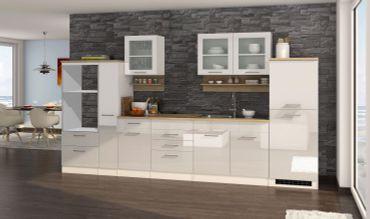 Küchenzeile MÜNCHEN - Vario 4 - Küchen-Leerblock - Breite 360 cm - Hochglanz Weiß