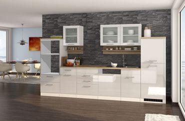 Küchenzeile MÜNCHEN - Vario 4 - Küchen-Leerblock - Breite 340 cm - Hochglanz Weiß