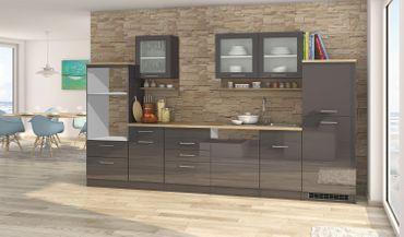 Küchenzeile MÜNCHEN - Vario 4 - Küchen-Leerblock - Breite 340 cm - Hochglanz Grau / Graphit