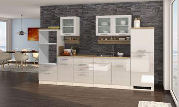 Küchenzeile MÜNCHEN - Vario 4 - Küchen-Leerblock - Breite 330 cm - Hochglanz Weiß