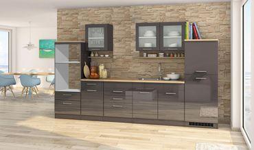 Küchenzeile MÜNCHEN - Vario 4 - Küchen-Leerblock - Breite 330 cm - Hochglanz Grau / Graphit