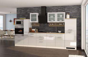 Küchenzeile MÜNCHEN - Vario 4 - Küche mit E-Geräten - Breite 360 cm - Hochglanz Weiß
