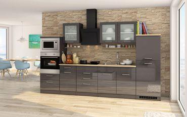 Küchenzeile MÜNCHEN - Vario 4 - Küche mit E-Geräten - Breite 330 cm - Hochglanz Grau / Graphit