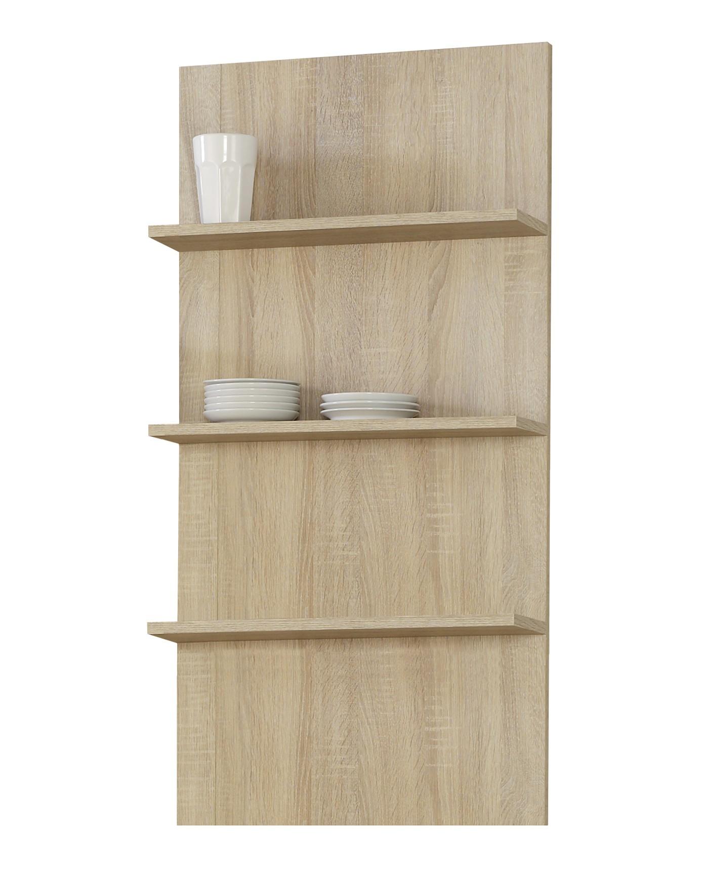 Küchen-Wandregal MÜNCHEN - 3 Ablageflächen - 50 cm breit - Eiche ...
