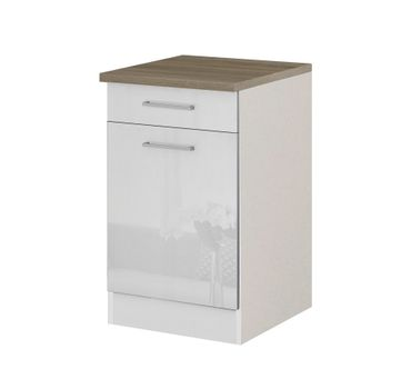 Küchen-Unterschrank MÜNCHEN - 1-türig - 50 cm breit - Hochglanz Weiß