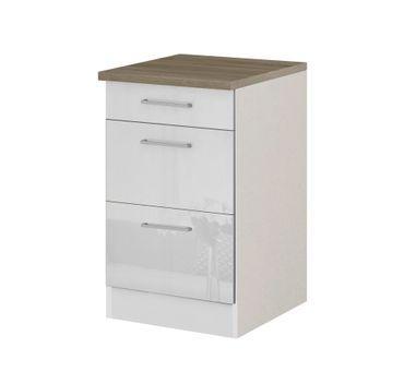 Küchen-Unterschrank MÜNCHEN - 2 Auszüge, 1 Schublade - Hochglanz Weiß
