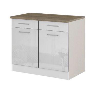 Küchen-Unterschrank MÜNCHEN - 2-türig - 100 cm breit - Hochglanz Weiß