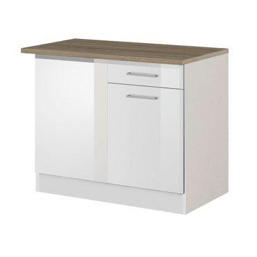 Küchen-Eckunterschrank MÜNCHEN - 1-türig - 110 cm breit - Hochglanz Weiß