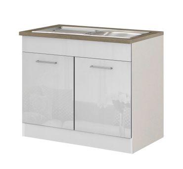 Küchen-Spülenschrank MÜNCHEN - 2-türig - 100 cm breit - Hochglanz Weiß