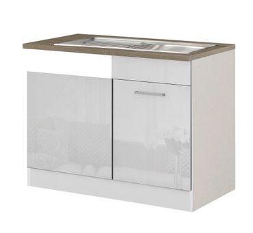 Küchen-Spülcenter MÜNCHEN - 1-türig - 110 cm breit - Hochglanz Weiß