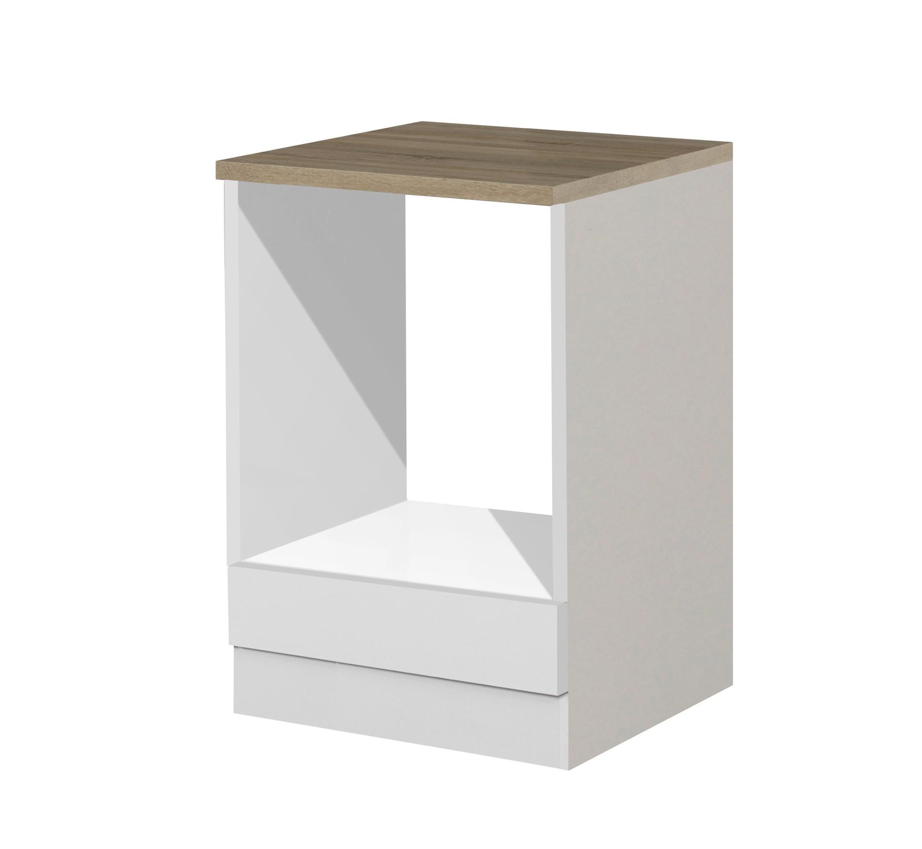 Küchen-Herdumbauschrank MÜNCHEN - 60 cm breit - Hochglanz Weiß Küche ...