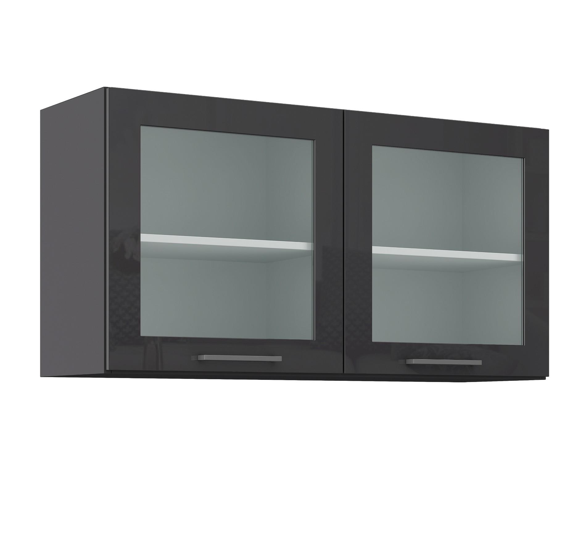 glash ngeschrank m nchen k chenschrank oberschrank glasschrank 100 cm grau ebay. Black Bedroom Furniture Sets. Home Design Ideas