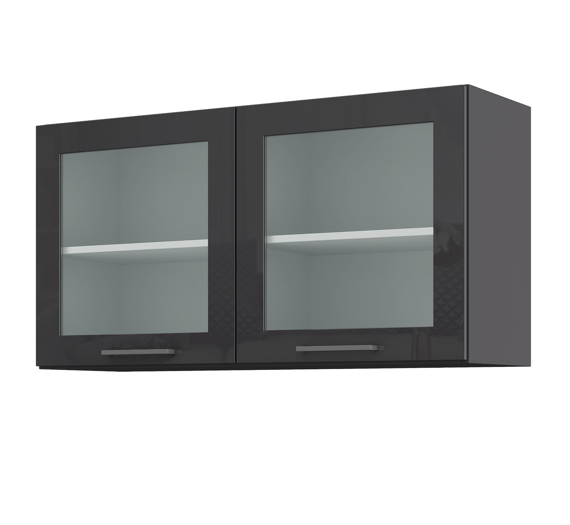 Küchen-Glashängeschrank MÜNCHEN - 16-türig - Breite 16 cm - Hochglanz Grau