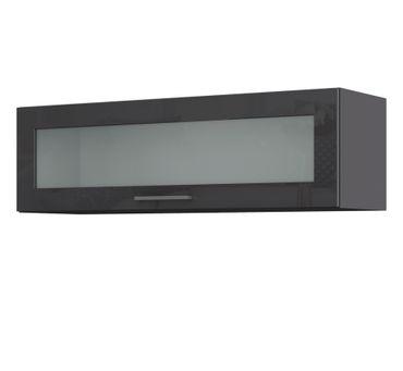 Küchen-Hängeschrank MÜNCHEN - 1 Glasklappe - 100 cm breit - Hochglanz Grau / Graphit