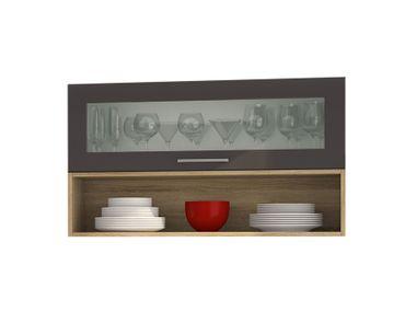 Hängeschrank MÜNCHEN - 1 Glasklappe, 1 Regal - 100 cm breit - Grau / Graphit