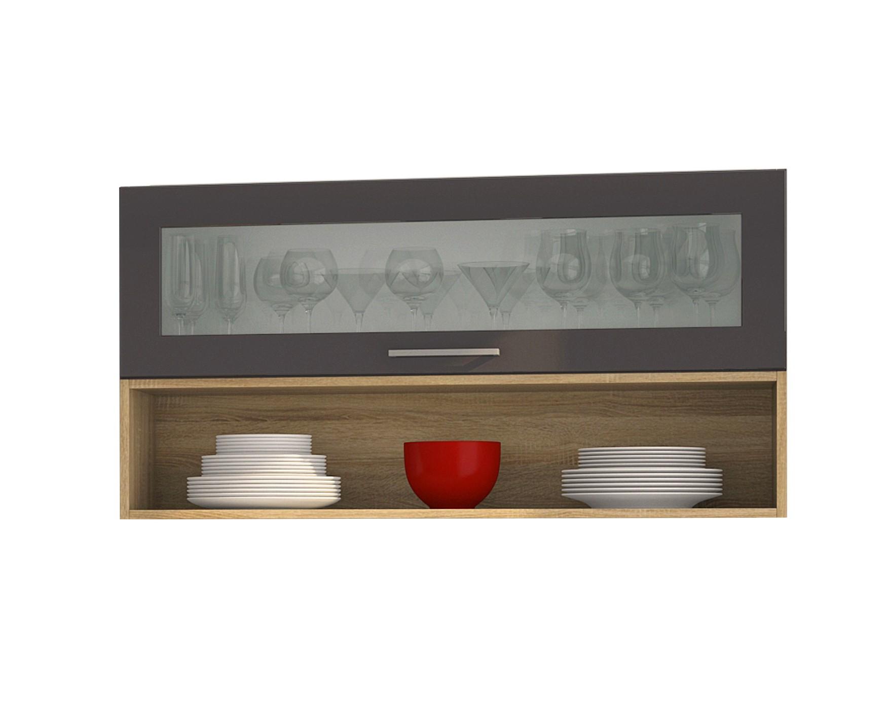 h ngeschrank m nchen 1 glasklappe 1 regal 110 cm breit hochglanz grau k che k chen. Black Bedroom Furniture Sets. Home Design Ideas